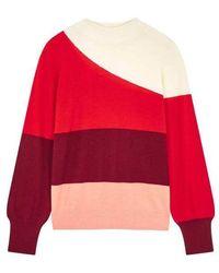 Chinti & Parker Suéter curvo en crema / rojo / baya / rosa polvorienta