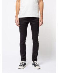 Nudie Jeans Jeans slim neri Selvage in cotone organico Lean Dean Dry - Nero