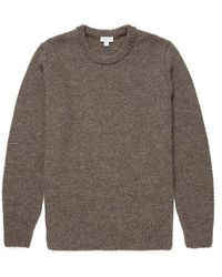 Sunspel Chunky Texture Crew Neck Jumper Oatmeal Melange - Multicolour
