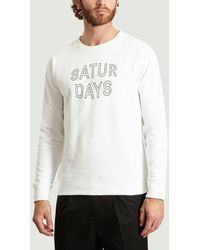Saturdays NYC Sweat-shirt blanc à blocs convexes