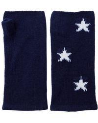 The West Village Navy White Star Wrist Warmers - Blue