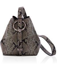 Rebecca Minkoff Mini Kate Bucket Bag Thyme Python - Black