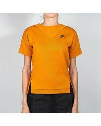 Nike Sunset / Black Tech Fleece Crew para mujer - Naranja