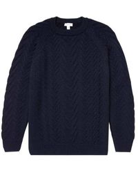 Sunspel Cable Crew Neck Knit Navy - Blue
