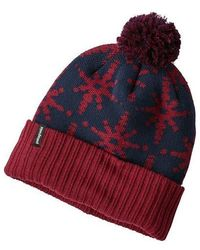 Patagonia Powder Town Beanie Park Stripe Oxide Red Sox - Rouge