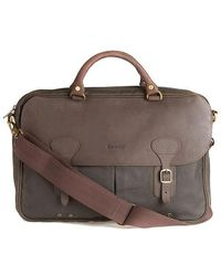 Barbour Wax Leather Briefcase Olive - Multicolor