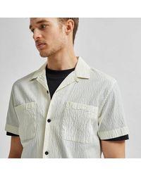 SELECTED - Camisa Seersucker Resort Blanco Roto - Lyst