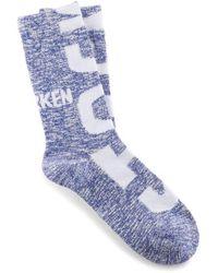 Birkenstock Chaussettes à logo flammé en coton bleu outremer profond