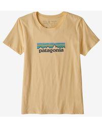 Patagonia Ws Pastel P 6 Logo Organic Crew Vela Peach T Shirt - Multicolour