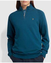 Farah Jim Organic Cotton Viertel Zip Sweatshirt Atlantic - Blau