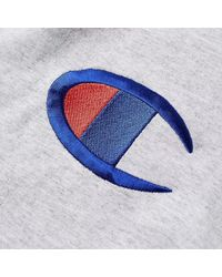 Champion T-shirt da uomo con logo petto in cotone melange grigio melange