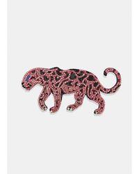 Essentiel Antwerp Vigra Pink Black Leopard Brooch - Multicolour