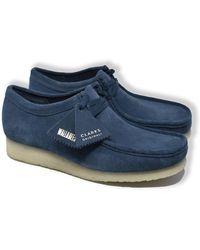 Clarks Wallabee Wildleder Schuhe (Blau)