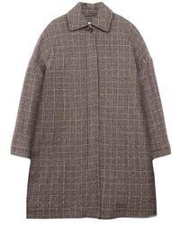 YMC Cocoon Coat Check Brown