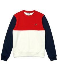 Lacoste Colour Block Crew Neck Sweat Sh5185 White Red Navy