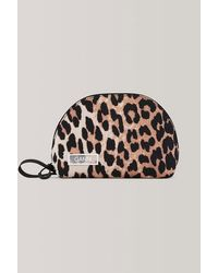 Ganni Leopard Print Tech Fabric Toiletry Bag - Multicolor