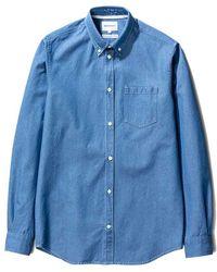 Norse Projects Camisa vaquera Anton lavada al sol - Azul