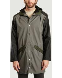 Rains Charcoal Black Color Block Long Jacket - Multicolor