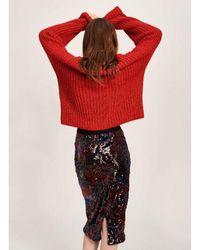Essentiel Antwerp Burgundy Temptation Sequin Skirt - Red