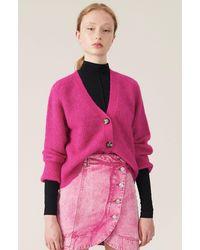 Ganni Cárdigan de punto de canalé de lana - Rosa