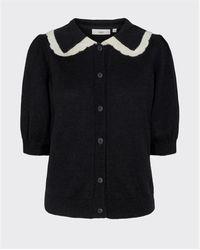 Minimum Colli manga corta contrastar collar cardigan negro