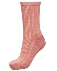 SELECTED Chaussettes Glitter Rose Tan