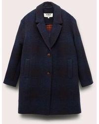 YMC Heroes Check Virgin Wool Coat Navy - Blue