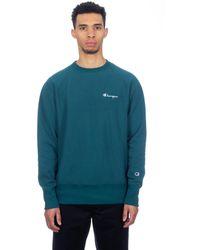 Champion Teal Reverse Weave Small Script Crewneck Sweatshirt 213603 GS549 - Bleu