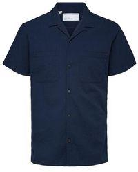 SELECTED - Camisa Declan Seersucker Resort azul marino - Lyst