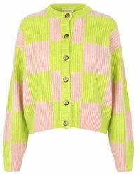 Stine Goya Harry Cardigan Lime Check - Multicolor