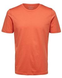SELECTED Coral Perfect O Neck T Shirt - Orange