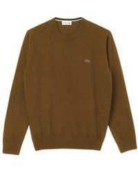 Lacoste Crew Neck Wool Jersey Knit Ah 0841 Resin - Brown