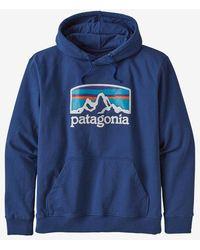 Patagonia Sudadera con capucha superior azul para hombre Fitz Roy Horizons Uprisal