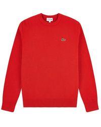 Lacoste Jersey de algodón con cuello redondo Rojo