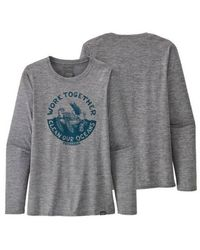 Patagonia Camiseta Ws L S Capilene Daily Graphic Feather Grey