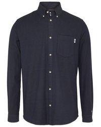Tommy Hilfiger Marineblaues zweifarbiges Oxford-Langarmhemd