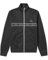 Fred Perry Authentic Taped Chest Track Jacket Black - Noir