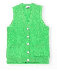 Ganni Cashmere Knit Vest Green