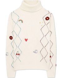 Paul Smith Embroidered Doodle Roll Neck Jumper Cream - Multicolour