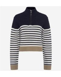 French Connection Https://www.trouva.com/it/products/french-connection-half-zip-stripe-jumper-navy - Blu