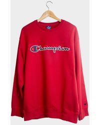 Champion Felpa con logo script scamosciato oversize - Rosso