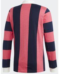 adidas Kontraststreifen Rugby Shirt Indigo & Pink DU7852