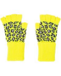 Paul Smith Leopard Fingerlose Handschuhe Neongelb