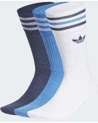 adidas Conjunto de 3 calcetines clásicos azul marino azul marino True Blue Crew