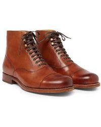 Grenson Stivali in pelle brunita marrone chiaro con punta di Leander