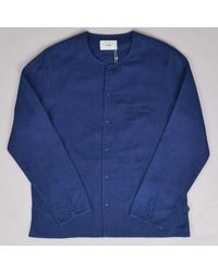 Folk Collarless Pop Stud Shirt Double Indigo Last Piece - Blue
