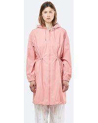 Rains Long W Coat Coral - Pink