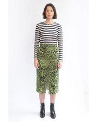 Ganni Soft Tiger Skirt In Lime Tiger - Verde