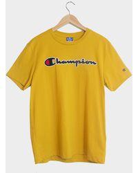 Champion T-shirt girocollo con logo Script arancione - Giallo