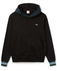 Lacoste Leopard Print Hooded Sweatshirt Black
